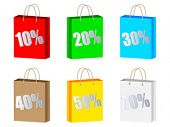 discount on shopping bag different colors