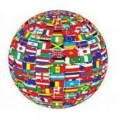 country flags on ball