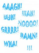 Different comic word vector illustration