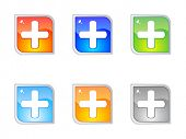 Modern plus buttons editable vector