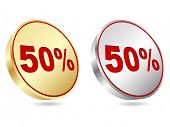 (raster image of vector) fifty percent discount icon