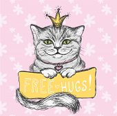 Cute Hand Drawn Card, Cat And Inscription- Free Hugs, Floral Bac poster