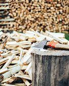 Chopped Wood Piled In A Woodpile And Prepared For Heating In Winter. poster
