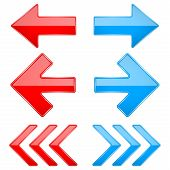 Red And Blue Shiny 3d Arrows. Previous And Next Icons. Vector Illustration Isolated On White Backgro poster