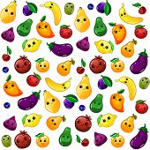Seamless Fruit Background. Various Funny Cartoon Fruits. Colorful Vector Seamless Fruit Pattern poster
