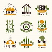 Food Logos. Healthy Kitchen Restaurant Buildings Cooking House Spoon And Fork Food Vector Symbols Fo poster