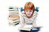 foto of young adult  - young girl student read the book - JPG