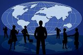 silhouette business people on blue world map