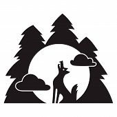 Wolf Forest Howl Icon. Simple Illustration Of Wolf Forest Howl Vector Icon For Web Design Isolated O poster