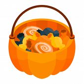 Halloween Candy Basket Icon. Isometric Of Halloween Candy Basket Vector Icon For Web Design Isolated poster