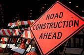 pic of road construction  - Road Construction Ahead sign with numerous barricades - JPG