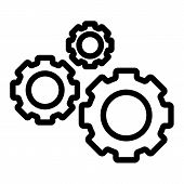 Three Gears Line Icon. Cogwheels Vector Illustration Isolated On White. Cogs Outline Style Design, D poster