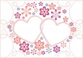 valentine hearts and flower vector background