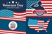 Veterans Day Banner Set. Flat Illustration Of Veterans Day Vector Banner Set For Web Design poster