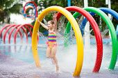 Kids At Aqua Park. Child In Swimming Pool. poster