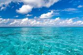 Sea View In Tropical Blue Sea. Aerial Seascape, Blue Sky Clouds. Maldives Perfect Blue Turquoise Sea poster
