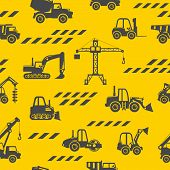 Toys Heavy Construction Machines Seamless Pattern. Heavy Construction Equipment And Mining Machinery poster