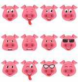 Heads Of Cool Funny Pig Emoticon Characters, Happy, Cool, Angry, Tired Emotions. Set Avatars poster