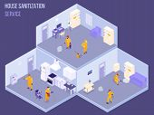 Staff Of House Sanitization Service In Protective Uniform During Disinfection Work Isometric Vector  poster