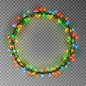 Garland Wreath Decorations. Christmas Color Lights Ring With Isolated Shine Lamps Element. Glowing S poster