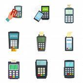 Bank Terminal Card Credit Machine Icons Set. Flat Illustration Of 9 Bank Terminal Card Credit Machin poster