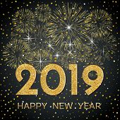 2019 Happy New Year. Gold Fireworks And Stars On Dark Background. New Year 2019 Greeting Card. Backg poster