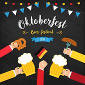 Octoberfest Beer Festival Colorful Poster. Composition With Human Hands Toasting Beer In Centre And  poster