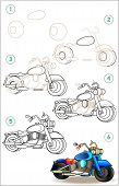 Page Shows How To Learn Step By Step To Draw Motorcycle. Developing Children Skills For Drawing And  poster