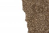 Lot Of Whole Fresh Mottled Chia Seeds Flatlay Isolated On White Background poster