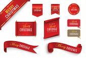 Merry Christmas Scroll Red. Realistic Paper Banners. Banner With A Congratulation. Vector Illustrati poster