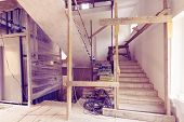 Construction Materials, Electrical Wires, Bags With Cement, Claircole  And Putty, Stairs With Tempor poster