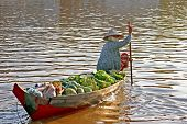 woman in boat with fruits and vegatables