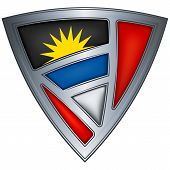 Escudo de acero con bandera de Antigua y Barbuda
