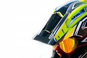 close up portrait of racer in helmet over white