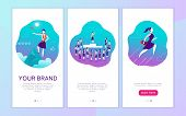 Vector Mobile App Interface Concept Design With Woman Personal Brand Theme. Victory Metaphor For Suc poster