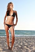 young attractive woman in black bikini on sand beach