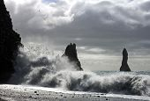 The waves of the Atlantic Ocean hitting the basalt and volcanic beaches of Iceland's south coast at