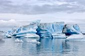 The famous Jokulsarlon glacier lake in Iceland, where the icebergs, originating from the Vatnajokull