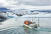 An amphibious vehicle taking tourists for a cruise around the icebergs in the Jokulsarlon glacier la