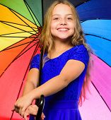 Girl Child Ready Meet Fall Weather With Colorful Umbrella. Ways To Improve Your Mood In Fall. Colorf poster