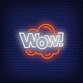 Neon Wow Sign. Glowing Neon Wow Inscription In Cloud. Surprise Concept. Night Bright Advertisement.  poster