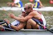 BOSBAAN, AMSTERDAM - JULY 23: Massy and Gallagher (USA's Men's Quadruple Sculls) progress through to