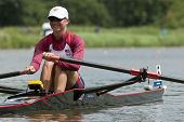 BOSBAAN, AMSTERDAM - JULY 23: Boucher (US Lightweight Women's Single Scull) smiles before the start