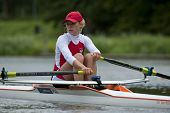 AMSTERDAM - JULY 23: Monika Kowalska (Poland BLW1x) looks over her shoulder in concentration before