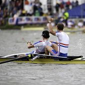 AMSTERDAM-JULY 23: Chambers, Emery (GBR BLM2-) win gold in a world record time of 6:26.90 at the wor