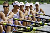 AMSTERDAM-JULY 22: The British women's 8 team concentrate before the start of their race at the worl