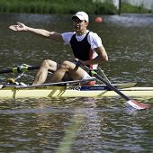 AMSTERDAM-JULY 22: Haily (Iraq single sculls) complains after the finish of his raceat the quarter f
