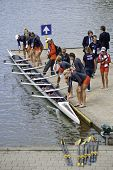 AMSTERDAM-JULY 22:  Canada's Women's 8 put their boat in the water, preparing for their heat at the