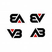 Creative Letter Ab,vb,ev,ea  Logo Design Black And Red Logo Elements. Simple Letter Ab,vb,ev,ea Lett poster