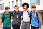Portrait Of Male High School Student Friends Standing Outside School Buildings poster